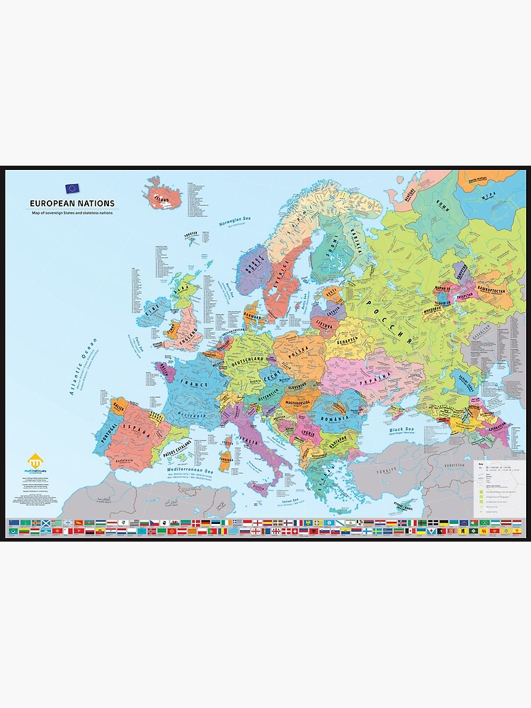 """«""""European Nations"""" : Carte des nations historiques d'Europe (en anglais)» par Multinatio"""
