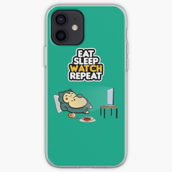 Eat, Sleep, Watch, Repeat. Quarantine and chill art iPhone Soft Case