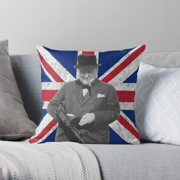 Churchill Posing With A Tommy Gun Throw Pillow