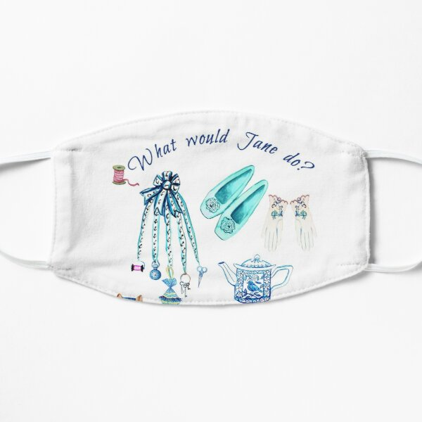 Jane Austen favourite things and daily objects in watercolor Mask