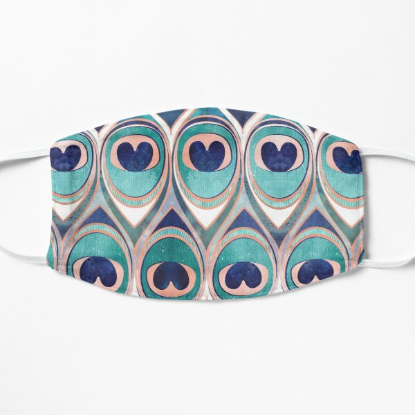 Peacock Feathers Eye // teal blue and metal coral rose Mask