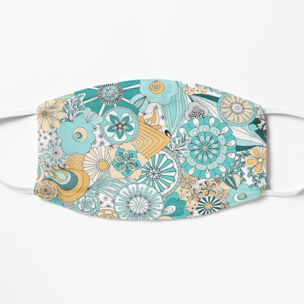 70s Style Flower Power in Blue, Yellow and White Mask
