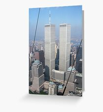 Twin Towers From Blimp Greeting Card