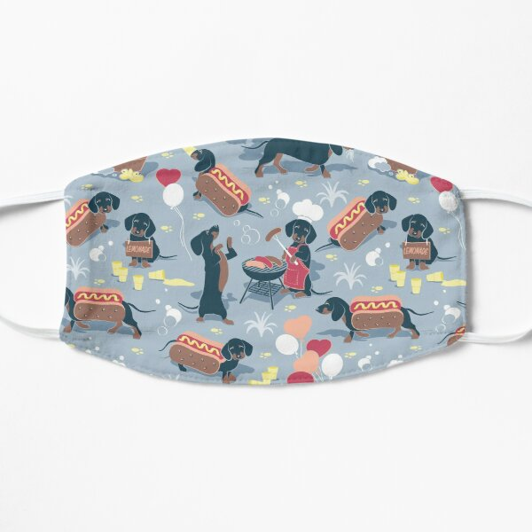 Hot dogs and lemonade // pastel blue background navy and brown dachshunds  Mask