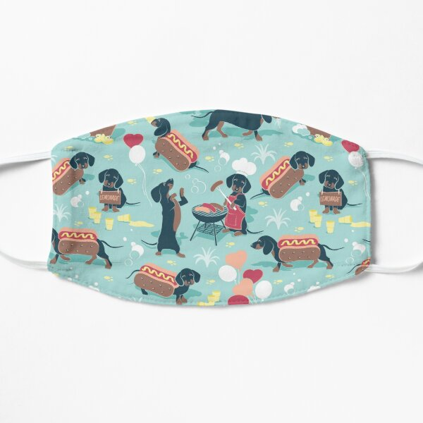Hot dogs and lemonade // aqua green background navy and brown dachshunds  Mask