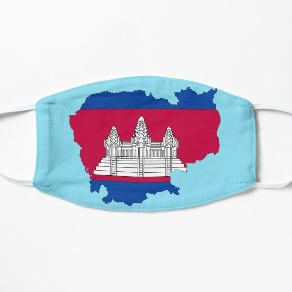 Cambodia Map With Cambodian Flag Flat Mask