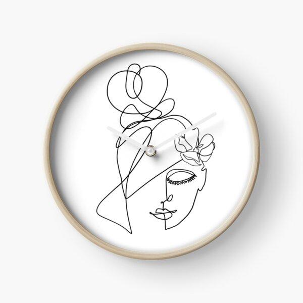 One Line Art  Mädchen Portrait  Uhr