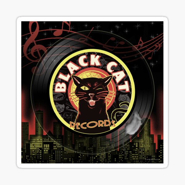 Black Cat LP Art Deco Sticker