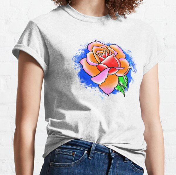 Watercolor Digital Rose Painting  Classic T-Shirt