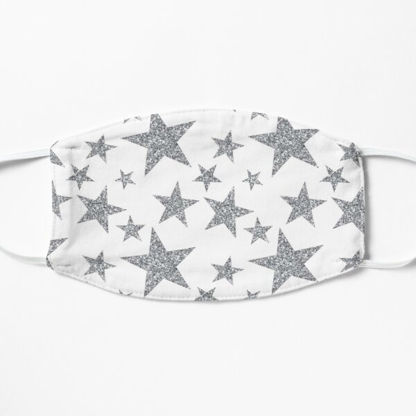 silver glittery repeating star pattern Mask