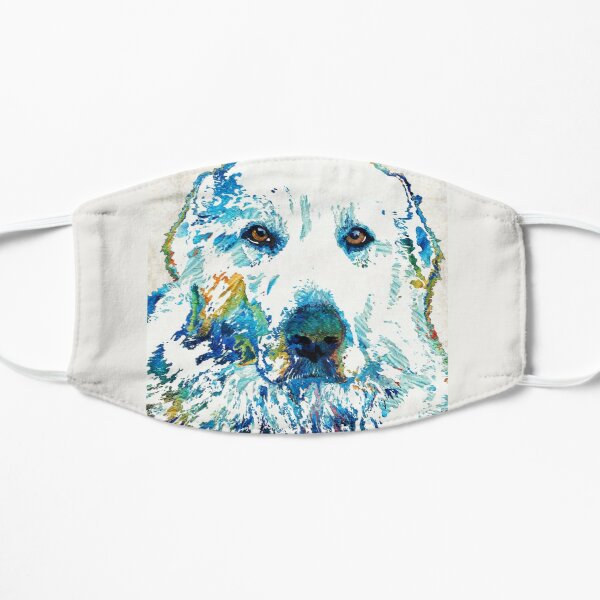 Colorful Great Pyrenees Dog - Sharon Cummings Flat Mask