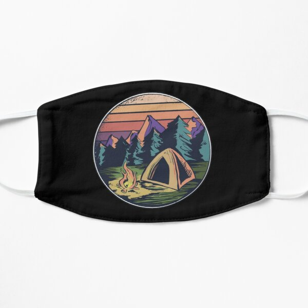 Happy Camper Camping Outdoors Vintage Retro Sunset Mask