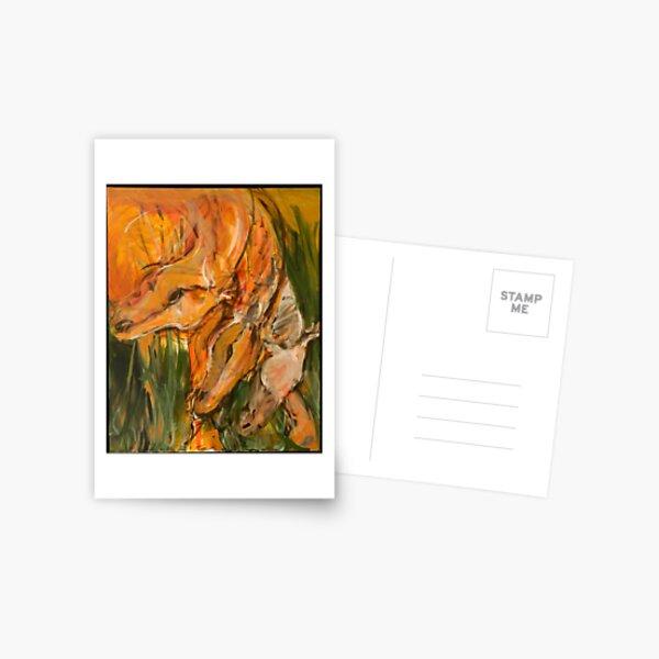 Orange Horse Heads Repeat Postcard