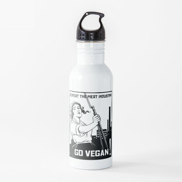 Defeat the Meat Industry - Go Vegan Water Bottle