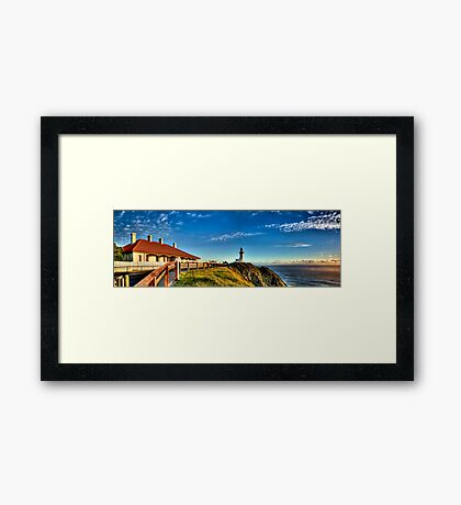 Sun kissed Lighthouse - Byron Bay Framed Print