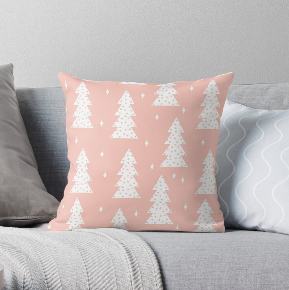 Christmas Tree - Blush by Andrea Lauren  Throw Pillow