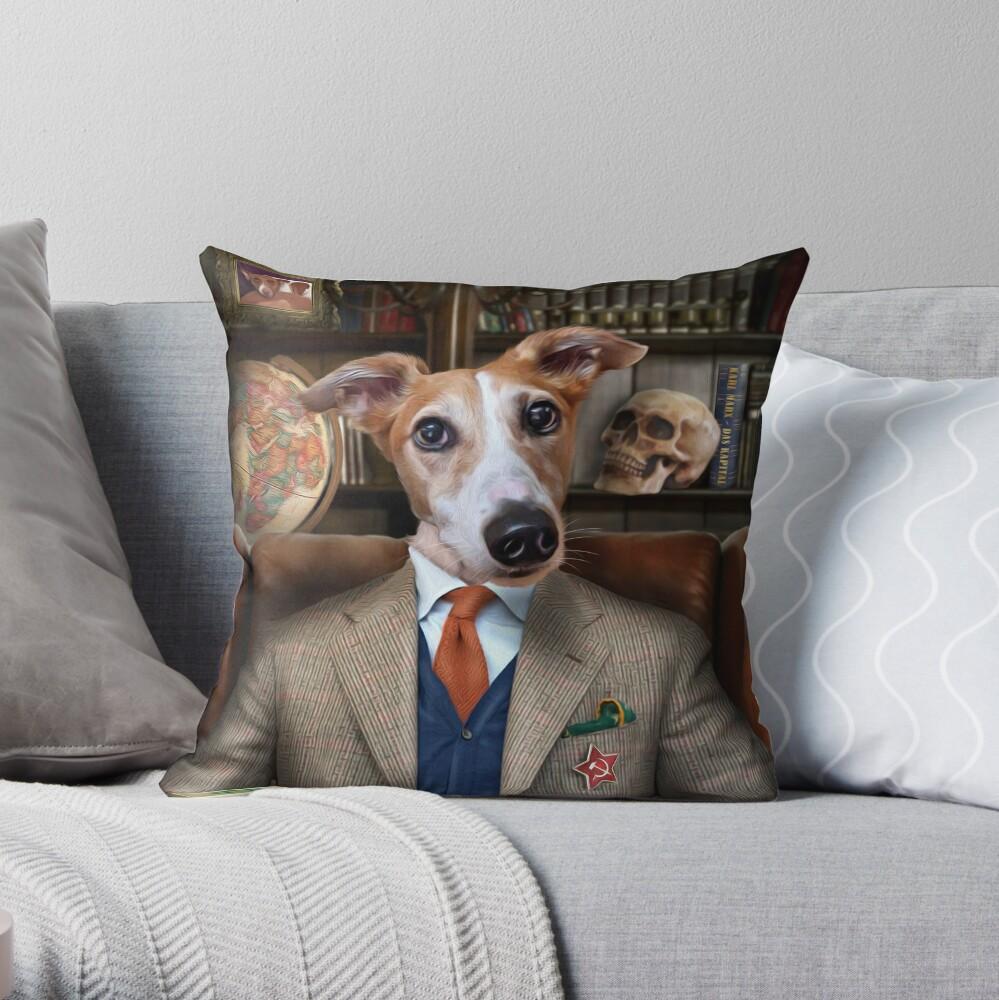 Lurcher Dog Portrait - Brambles Throw Pillow