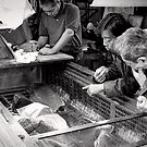 Maguro - Picking the best meat - Japan by Norman Repacholi