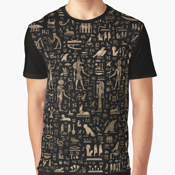 Ancient Egyptian Gods and hieroglyphs - Black and gold  Graphic T-Shirt