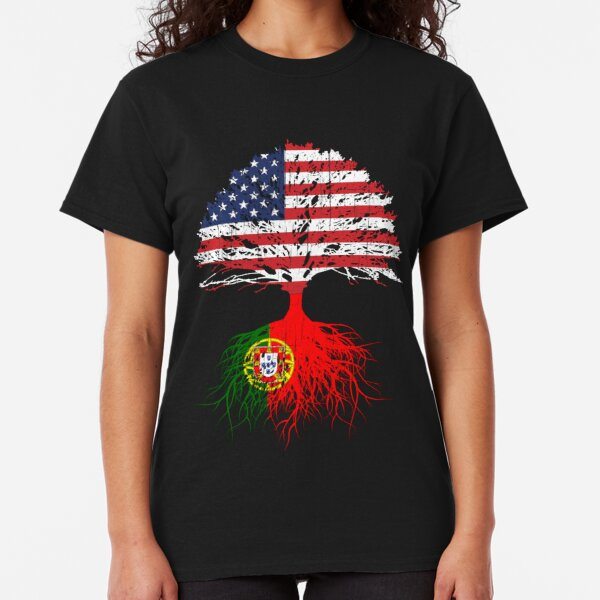 Portuguese Roots,  Portuguese American, Portugal Grown, Portugal USA Flag,  Design Art Gift Men Women Youth Family Classic T-Shirt