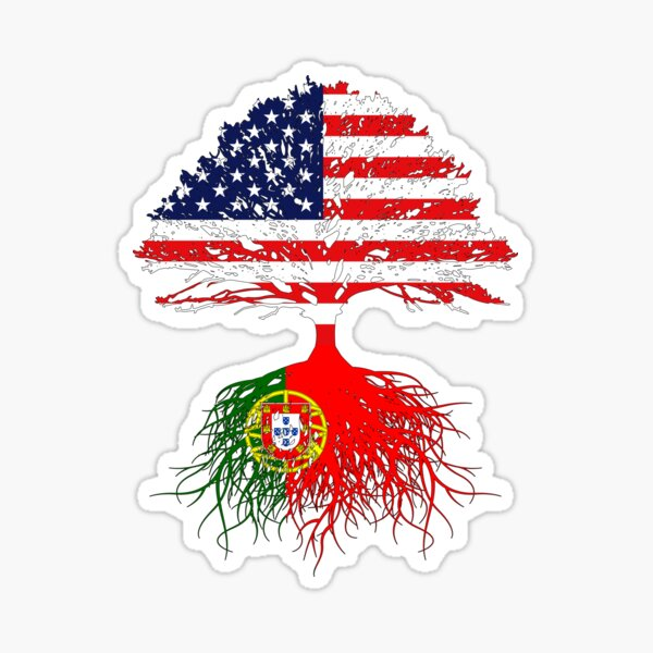 Portuguese Roots,  Portuguese American, Portugal Grown, Portugal USA Flag,  Design Art Gift Men Women Youth Family Sticker
