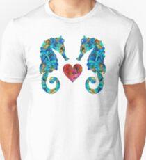 Sea Lovers - Seahorse Beach Art by Sharon Cummings Unisex T-Shirt