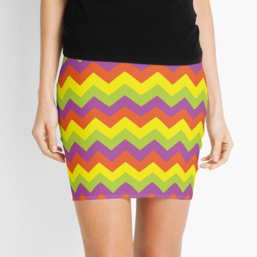Yellow Green and Orange Zigzags Mini Skirt