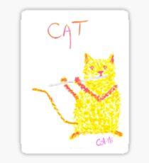 Yellow Cat Playing Flute Sticker
