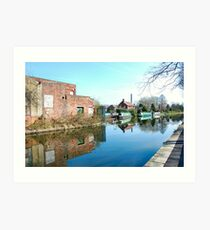 CANAL MIRROR IMAGES. 2. LEIGH UK. Art Print