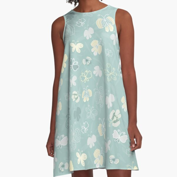 Pretty Yellow, White and Grey Butterflies A-Line Dress