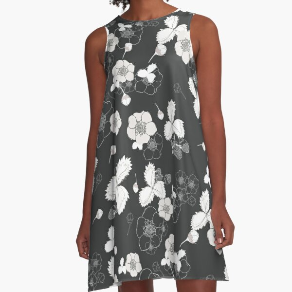 Strawberry Fields Forever in Black and White A-Line Dress
