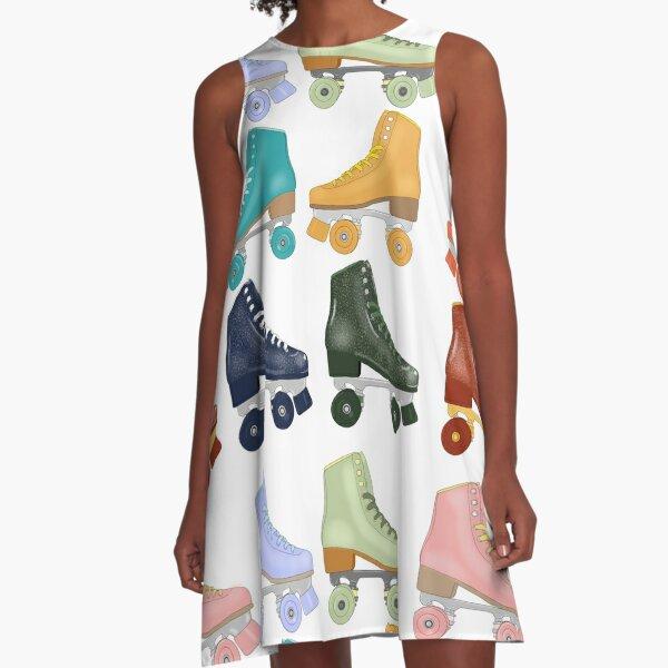 Colorful Roller Skates A-Line Dress