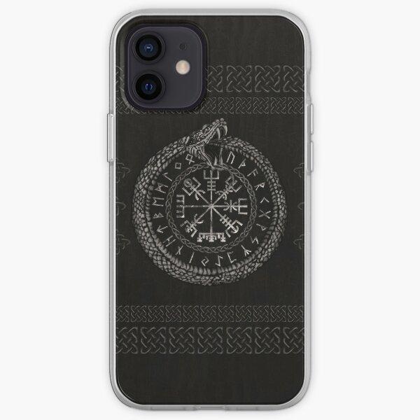 Vegvisir with Ouroboros and runes iPhone Soft Case