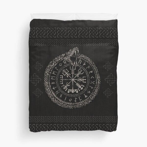 Vegvisir with Ouroboros and runes Duvet Cover