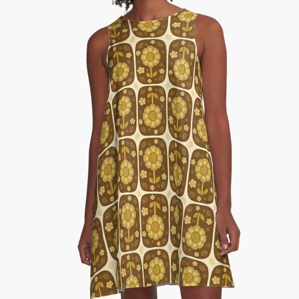 Retro Mustard Flowers in Geometric Layout A-Line Dress