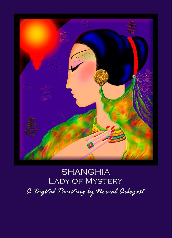 'Shanghai' Lady of Mystery, Titled Greeting Card by luvapples downunder/ Norval Arbogast