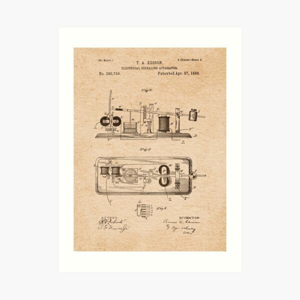 EDISON PATENTS / 03 - Electrical Signaling Apparatus Art Print