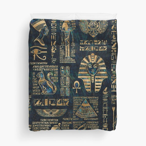 Egyptian hieroglyphs and deities -Abalone and gold Duvet Cover