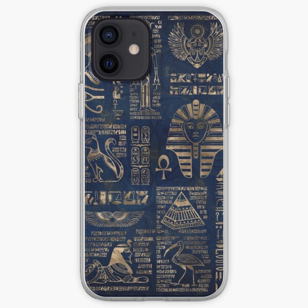 Egyptian hieroglyphs and deities-gold on blue marble iPhone Soft Case