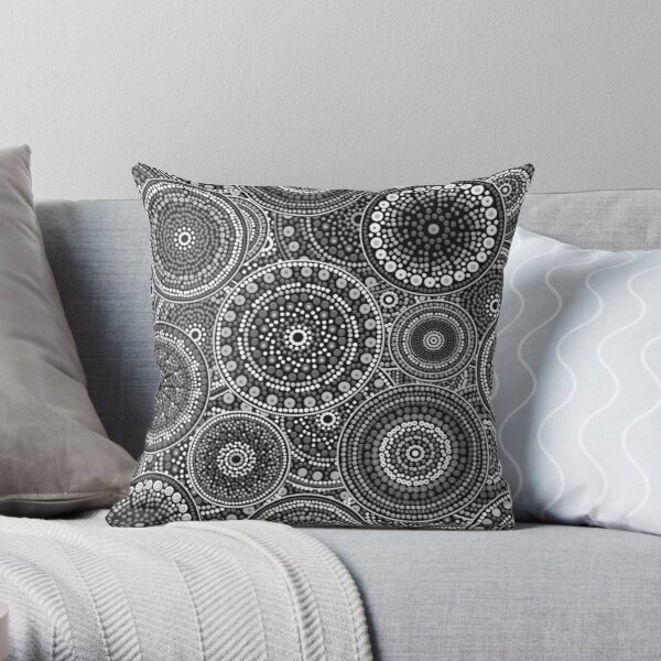 Dot Art Circles Grayscale Throw Pillow
