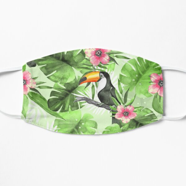 Tropical pattern with toucan Flat Mask