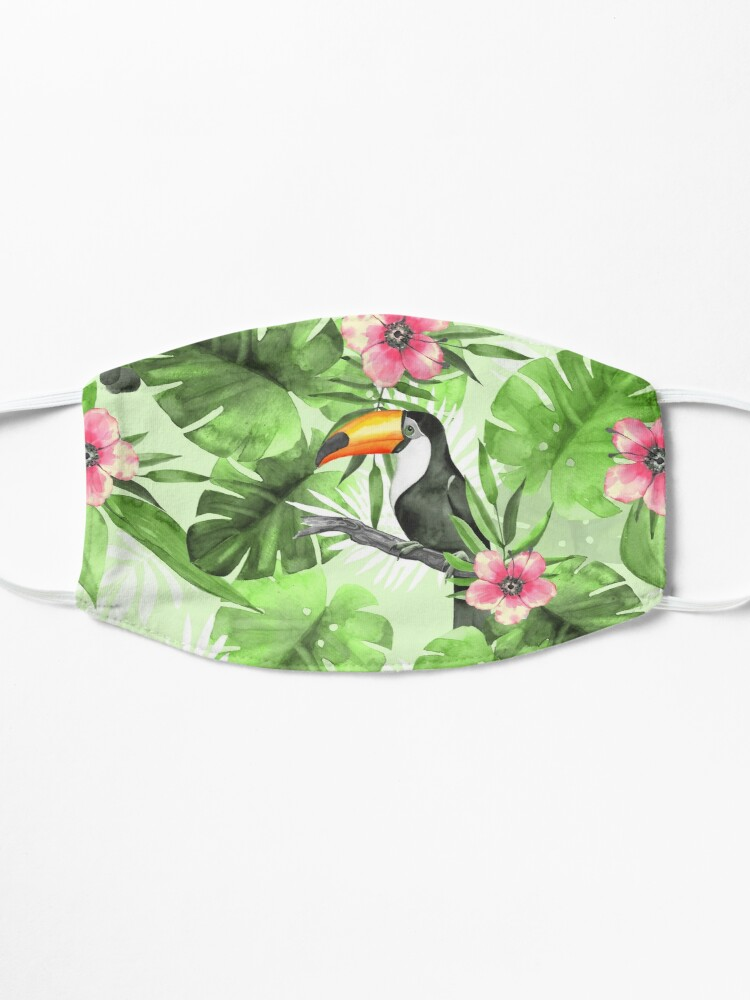 Alternate view of Tropical pattern with toucan Mask