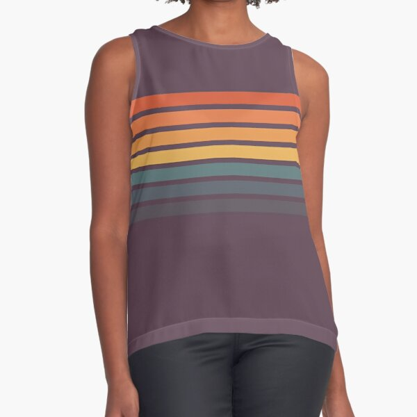 Lurama - 70s Vintage Style Retro Rainbow Summer Stripes Sleeveless Top