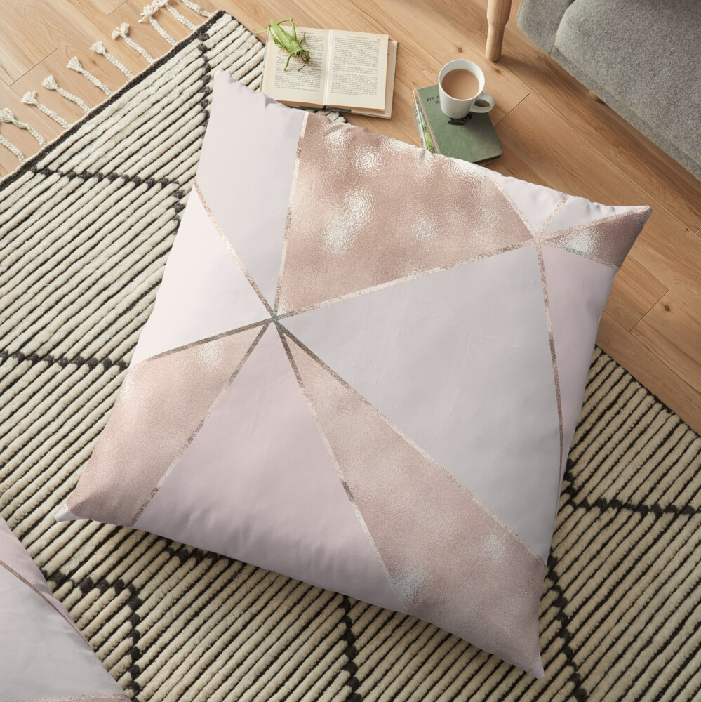 Blush Glamour Girly Trend Triangle Pattern Floor Pillow