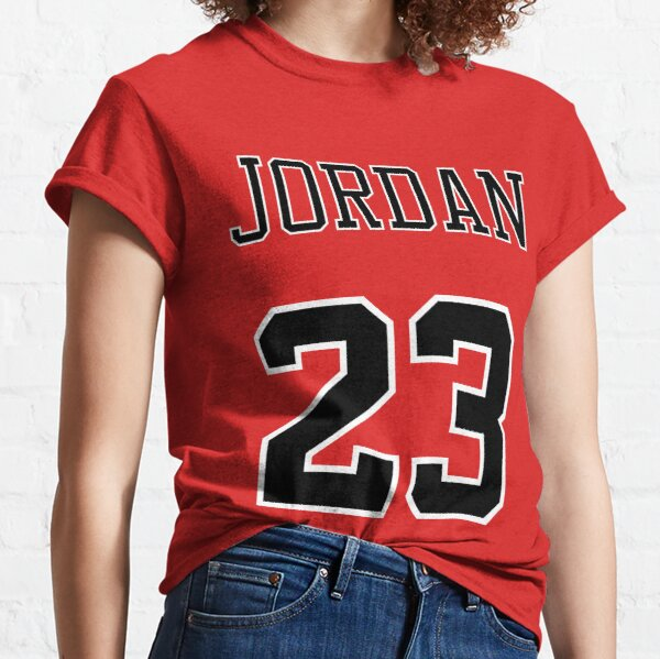 Michael Jordan 23 Name and Number Chicago Bulls Red and Black Classic T-Shirt