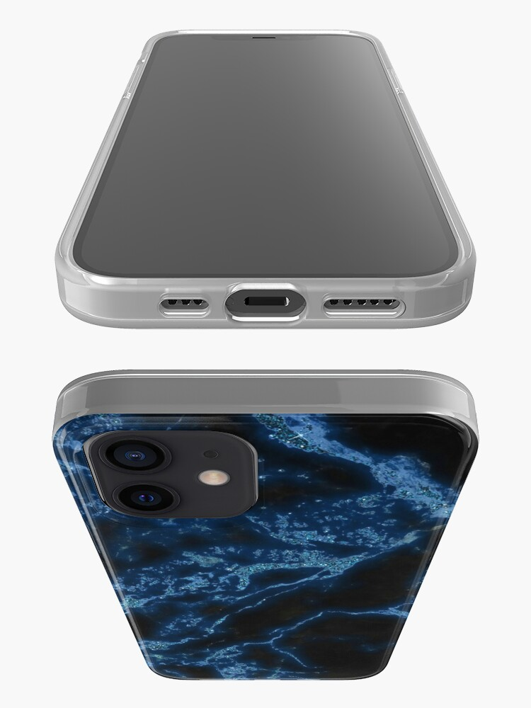 Alternate view of Classic Night Blue Marble with Glitter iPhone Case & Cover