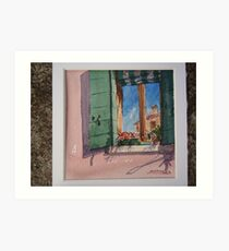 Venetian morning - window on the canal Art Print