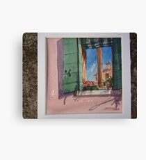 Venetian morning - window on the canal Canvas Print