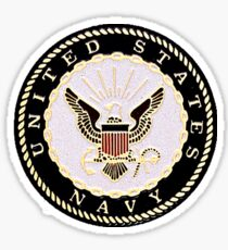 Black and White Embossed Navy Crest Sticker