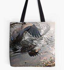 Fishing Is Hard Work, Great Blue Heron in Action Tote Bag